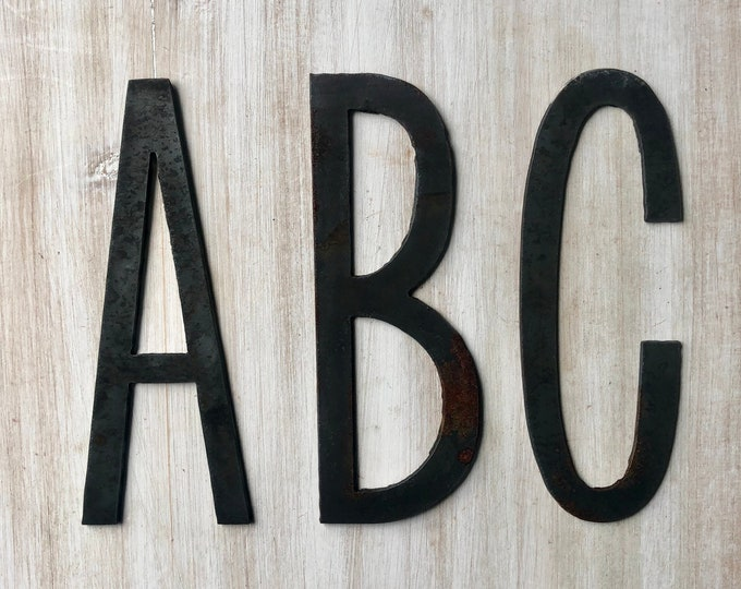 """18"""" Large Initials, Monogram - Thin Raw Metal Black Oxide Letters - Make your own Sign, Gift, Art!"""