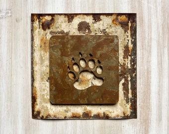 "Bear Paw Magnet - 4"" Rusty, Rustic Metal Square Bear Paw Cutout Magnet"
