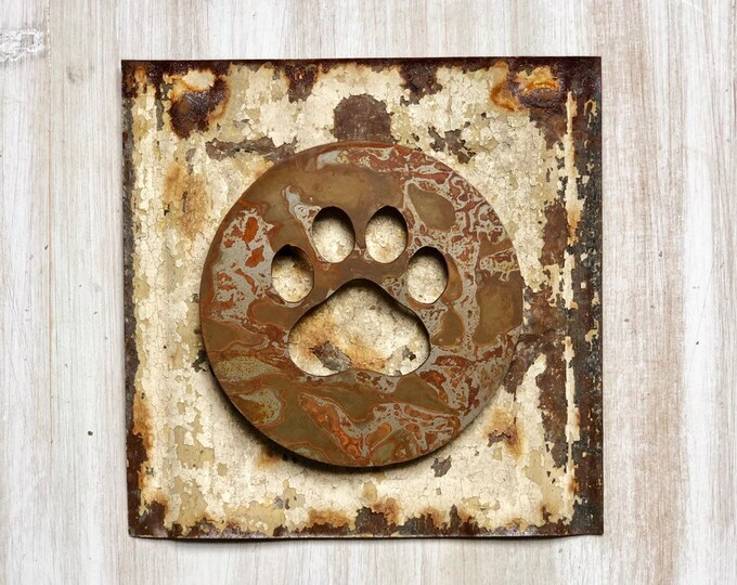 "Paw Print Magnet - 4"" Rusty, Rustic Metal Square Paw Cutout Magnet"