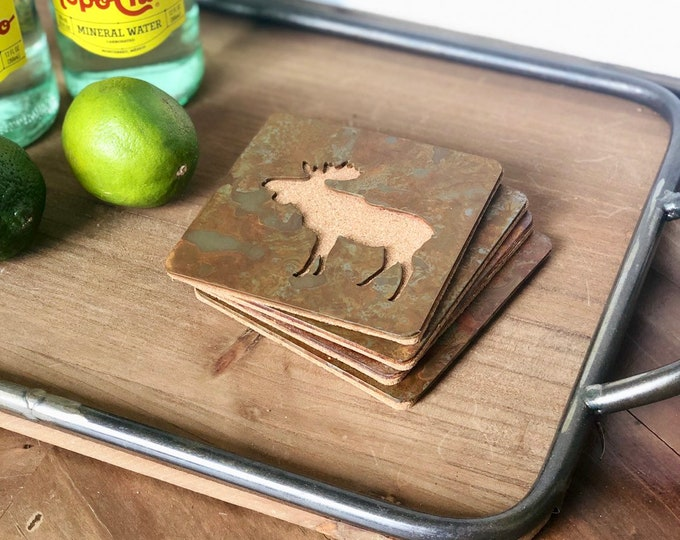 Moose - Set of 4 Square Coasters - Rusty, Rusted, Rustic Metal Coasters