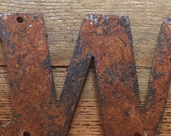 "Bold ""W"" - 4"" Rusty, Rusted, Rustic Metal Letter - Make your own Sign, Gift, Art"