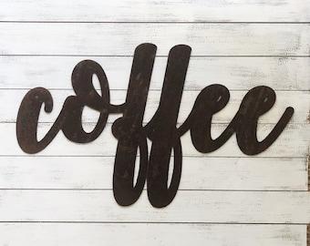 "COFFEE - 18"" Rusty Metal Script Sign"