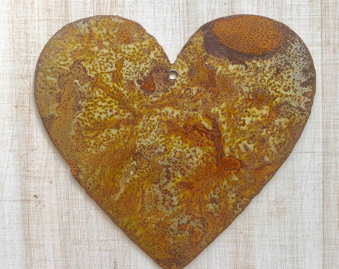 "Fat Heart - 4"" Rusty, Rustic, Rusted Metal Heart - Make your own Sign, Gift, Art"
