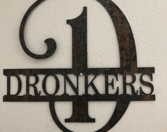 "Rustic Metal Custom Family Name Monogram Sign- 18"" tall"