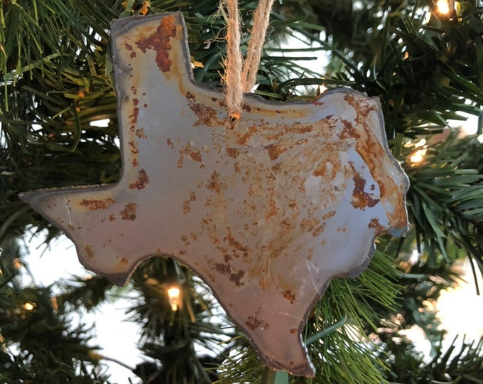 "Single or Set of 3...Rusty Metal TEXAS Ornament(s) - Rustic - 4"" tall"