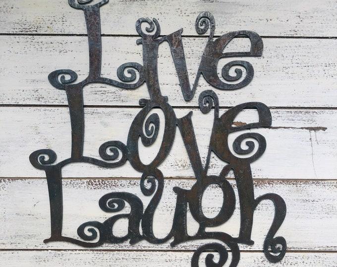 "Live, Laugh, Love - 12"" Rusty Metal Sign"
