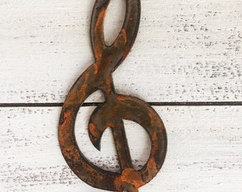 """Treble - Rusty Metal Music Note - 6"""" Predrilled - For Art, Sign, Decor - Make your own DIY Gift"""