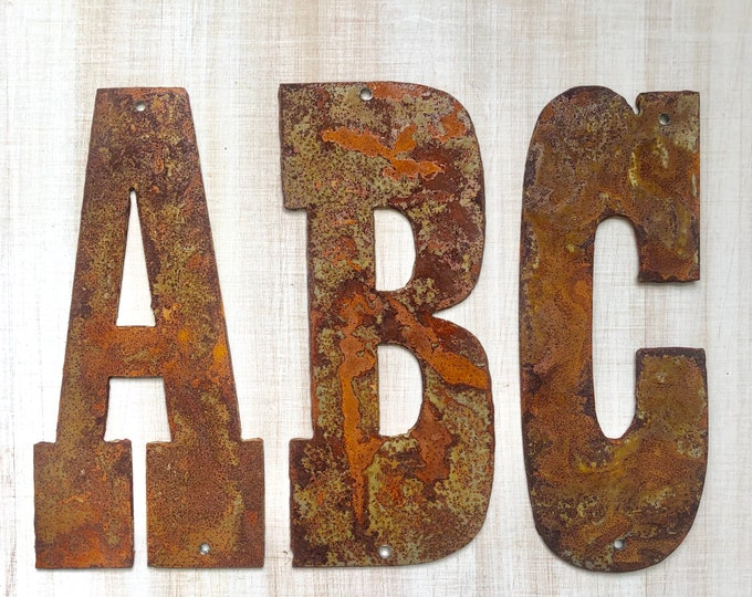 "Jumbo 24"" Initials, Monogram - Two Feet Tall Rusty Metal Letters - Make your own Sign, Gift, Art!"