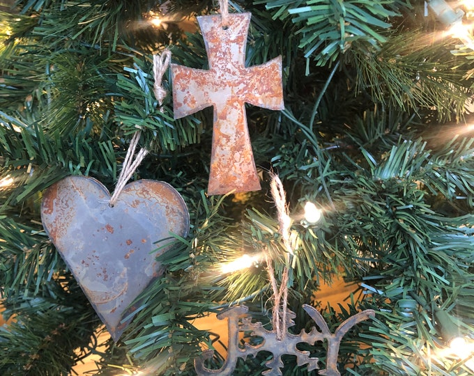 "Jesus Love - Rusted Metal Ornament Gift Set - CROSS, HEART, JOY - 4"" tall"