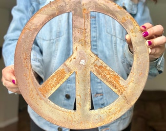 """Peace Sign - 12"""" Rusty, Rustic Metal Peace Sign - Make your own Sign, Gift, Art"""