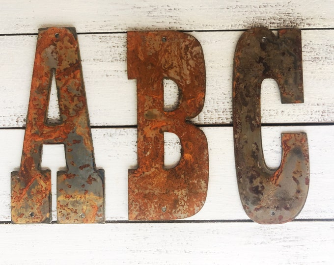 """Large Initials, Monogram - 12"""" Rusty Metal Letters - Make your own Sign, Gift, Art!"""