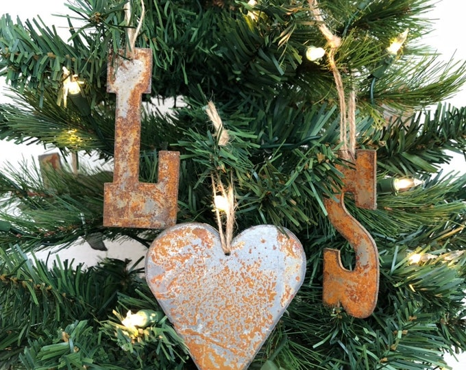"Couple Initials - Rusted Metal Ornament Gift Set - TWO LETTERS, HEART  - 4"" tall"