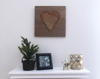 Rusty Metal Heart on Reclaimed Barnwood - Ready to hang!