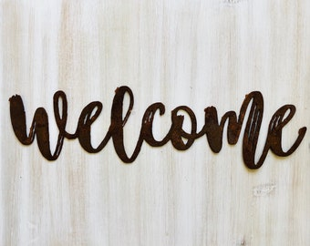 """Welcome - Dashed - 18"""" Rusted, Rusty Metal Script Sign"""