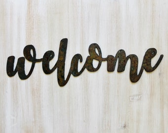 """Welcome - Bold - 18"""" Rusted, Rusty Metal Script Sign"""