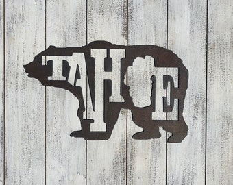"Lake Tahoe BEAR - 12"" Rusty Metal - For Art, Sign, Decor - Make your own DIY Gift!"
