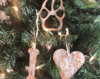 "Must Love Dogs - Rusted Metal Ornament Gift Set - DOG, HEART, BONE - 4"" tall"