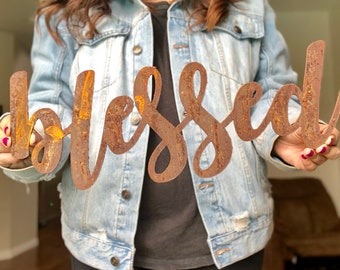 """Blessed - Bold - 18"""" Rusted, Rusty Metal Script Sign"""