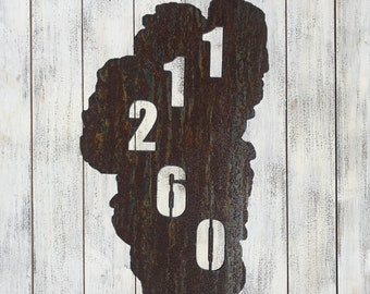 Lake Tahoe Shaped Address Sign Rusted Rustic-- Custom Made - 12""