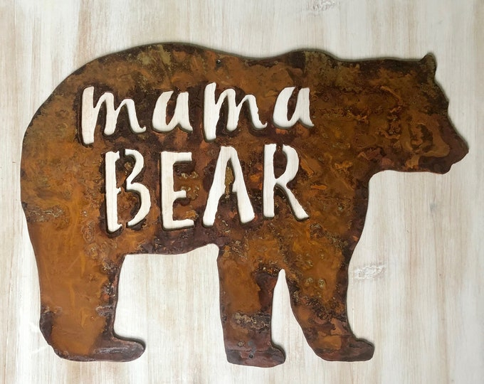 "Mama Bear - 18"" Rusty Metal Bear -  For Art, Sign, Decor - Make your own DIY Gift"