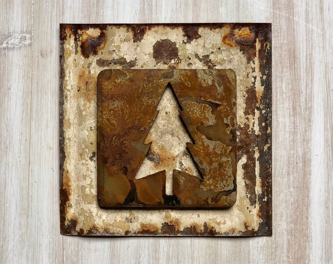 "Evergreen Tree Magnet - 4"" Rusty, Rustic Metal Square Tree Cutout Magnet"