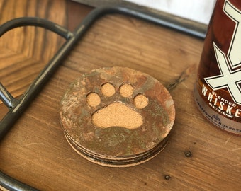 Paw Print - Set of 4 Round Coasters - Rusty, Rusted, Rustic Metal Coasters