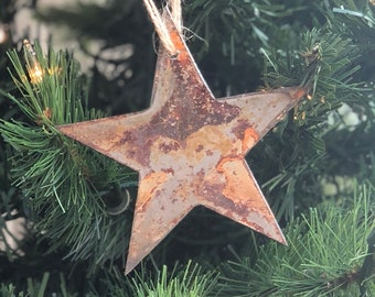 "Single or Set of 3...Rusty Metal STAR Ornament(s) - Rustic - 4"" tall"