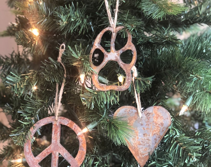 """Peace, Love and Pets - Rusted Metal Ornament Gift Set - PAW, HEART, PEACE - 4"""" tall"""