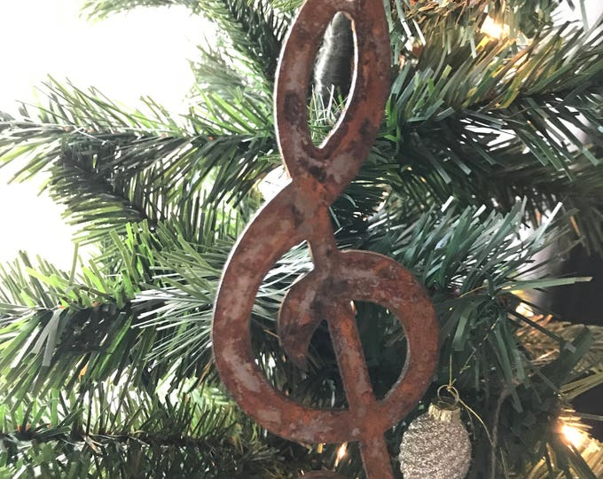 "Single or Set of 3...Rusty Metal TREBLE MUSIC NOTE Ornament(s)- Rustic - 4"" tall"