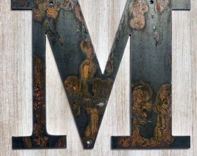 "5.25"" Bold ""M"" Letters, Initials, Monogram - Light Rust and Raw Steel Metal Letters - Make your own Sign, Gift, Art!"