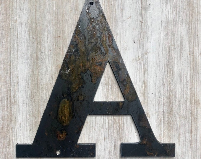 """5.25"""" Bold """"A"""" Letters, Initials, Monogram - Light Rust and Raw Steel Metal Letters - Make your own Sign, Gift, Art!"""