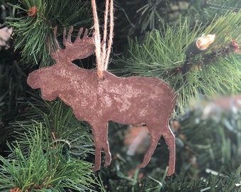 "Single or Set of 3...Rusty Metal MOOSE Ornament(s) - Rustic - 4"" tall"