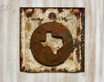 """Texas State Magnet - 4"""" Rusty, Rustic Metal Round Texas Cutout Magnet"""
