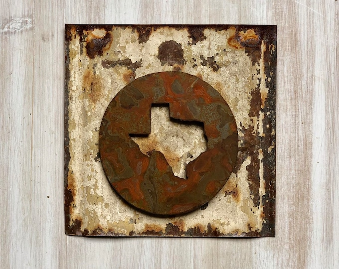 "Texas State Magnet - 4"" Rusty, Rustic Metal Round Texas Cutout Magnet"