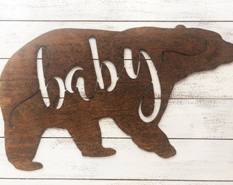 """Baby Bear - 12"""" Rusty Metal BABY BEAR - For Art, Sign, Decor - Make your own DIY Gift!"""