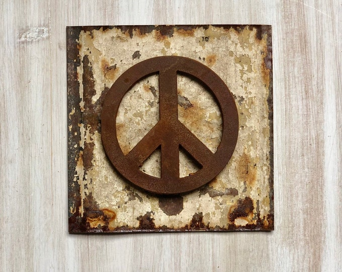 "Peace Sign Magnet - 4"" Rusty, Rustic Metal Peace Magnet"