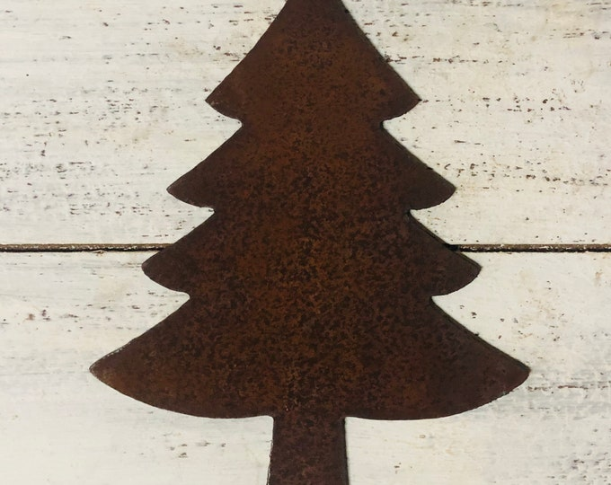 "Evergreen Tree - 6"" Dark Brown Rusty, Rustic Metal Tree - Make your own Sign, Gift, Art"