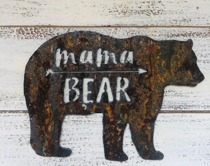 "Mama Bear - 18"" Rusty Metal MAMA BEAR -  For Art, Sign, Decor - Make your own DIY Gift!"