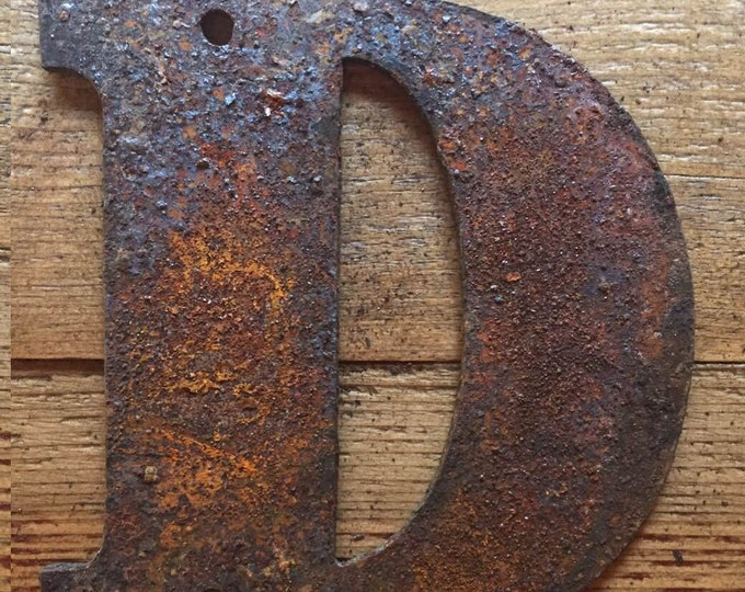 """Bold """"D"""" - 4"""" Rusty, Rusted, Rustic Metal Letter - Make your own Sign, Gift, Art"""