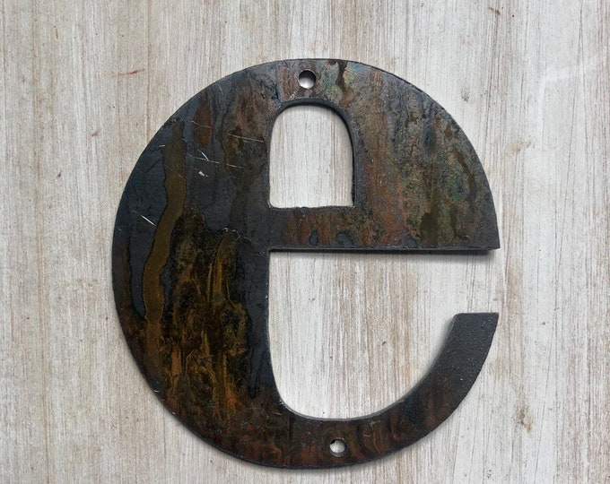 """3.5"""" Bold """"e"""" Letters, Initials, Monogram - Light Rust and Raw Steel Metal Letters - Make your own Sign, Gift, Art!"""