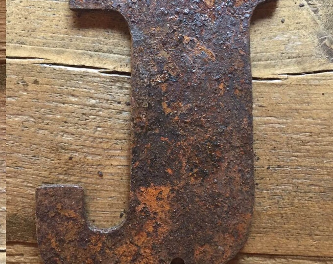 """Bold """"J"""" - 4"""" Rusty, Rusted, Rustic Metal Letter - Make your own Sign, Gift, Art"""