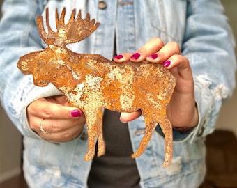 "Moose - 8"" Rusty, Rustic Metal Moose - Make your own Sign, Gift, Art"