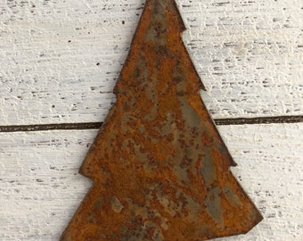 """Skinny Evergreen Tree - 4"""" Rusty, Rustic Metal Christmas TREE - Make your own Sign, Gift, Art!"""
