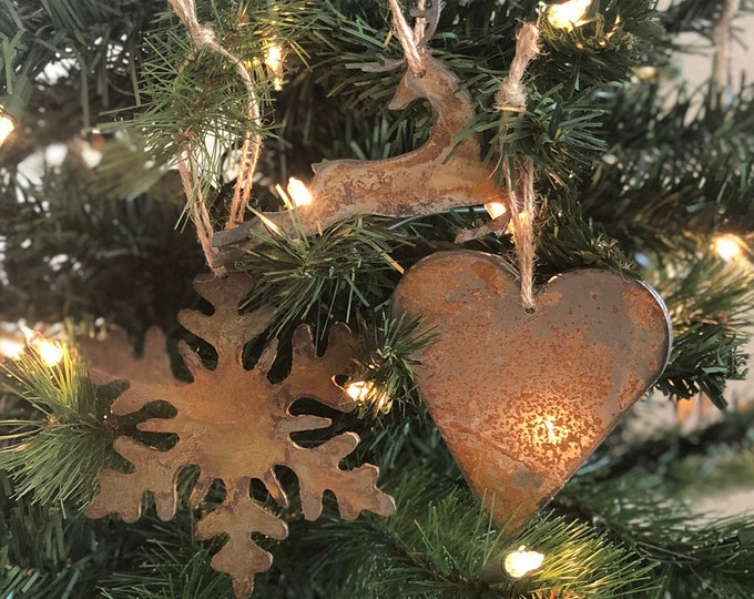 "North Pole - Rusted Metal Ornament Gift Set - SNOWFLAKE, REINDEER, HEART - 4"" tall"
