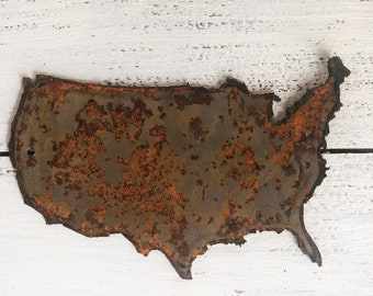 """United States - 6"""" Rusty, Rustic Metal USA Outline - For Art, Sign, Decor - Make your own DIY Gift!"""