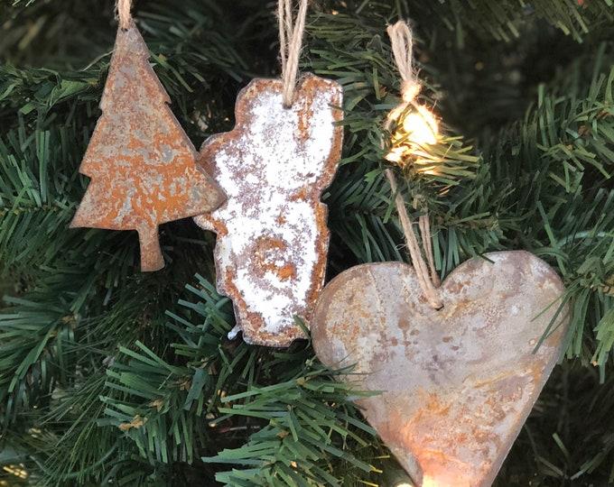"Lake Tahoe - Rusted Metal Ornament Gift Set - TREE, TAHOE, HEART - 4"" tall"