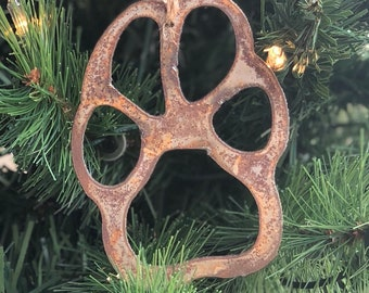 """Single or Set of 3...Rusty Metal PAW PRINT Ornament(s)- Rustic - 4"""" tall"""