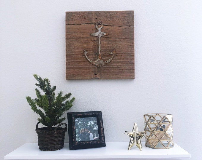 Rusty Metal Anchor on Reclaimed Barnwood - Ready to Hang!