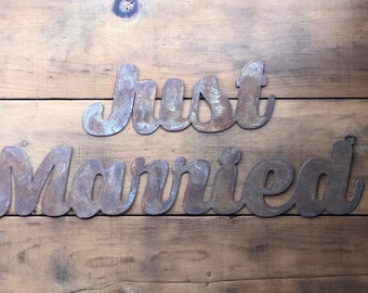"""Clearance - Only One at this price - JUST MARRIED Metal Wall Sign - For Art, Sign, Decor - Make your own DIY Gift! 24"""" long!"""
