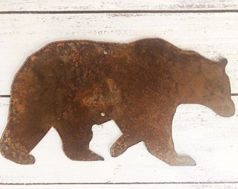 """Bear - 8"""" Rusty, Rustic Metal BEAR - Predrilled - For Art, Sign, Decor - Make your own DIY Gift"""
